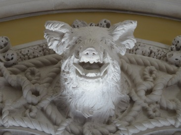 Me and boars.....I never did see the real thing. This plaster was enormous and decorated the dining room wall.
