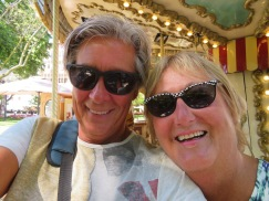 A selfie where the objective was to show some of the colourful animals on the carousel. LOL