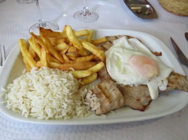 I had the very traditional Bitoque de Porco. A pork cut grilled and always served with a soft fried egg on top. The flavour today was fabulous.