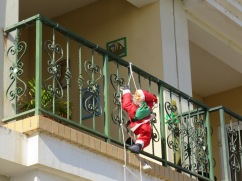Santa has started to show up on various balconies.