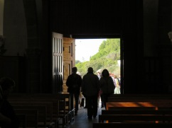 I was wandering in the old church when I saw Marc walk in. I liked the back lit quality