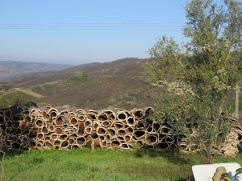 Piles of cork drying in the sun. The hills around this town were chock a block full of these large piles.