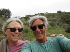 Our selfie, which was supposed to include the beautiful almond tree!!!! See next photo.