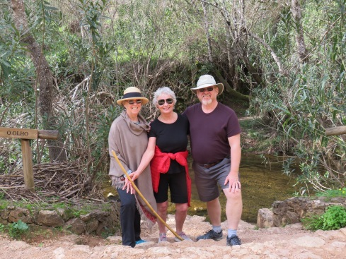 Patricia, Beth, and Gary....enjoying a moment of reprieve next to the stream O Olho (The Eye)f