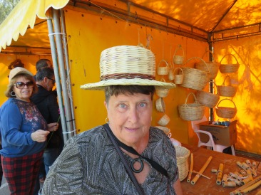 Hand made straw hats.....sadly neither of them managed a good fit!