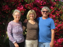 Patricia, Laurie and Marc in front of the bougainvillea arch at the corner of Pat's and Gary's terrace.